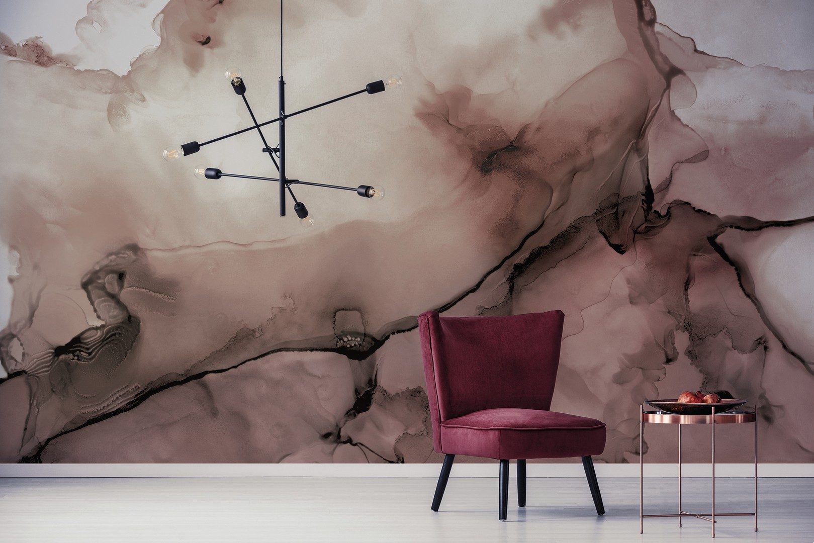 Watercolour wall in Coral
